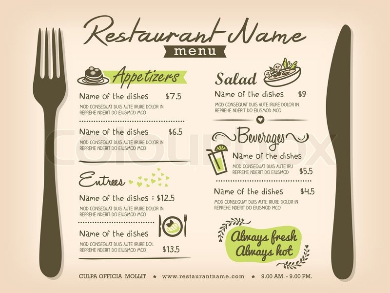 Restaurant Placemat Menu Design Template Layout Stock Vector - menu design template