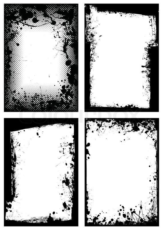 Black ink grunge border with white background and splat effect - black border background