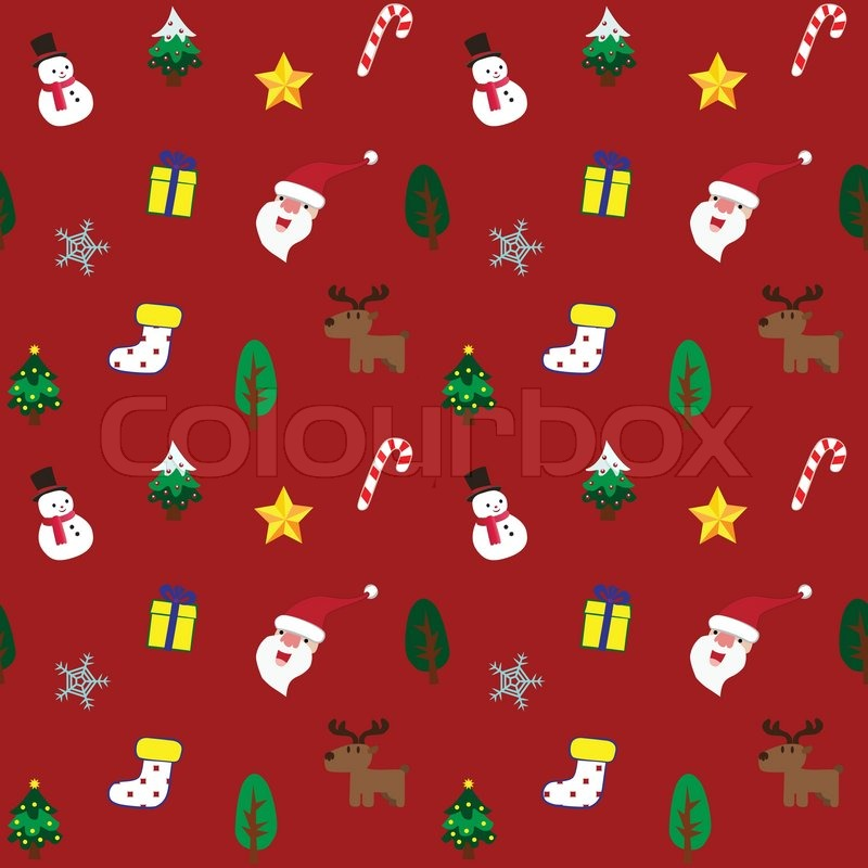 Cute Christmas theme in red background Stock Vector Colourbox - christmas theme background