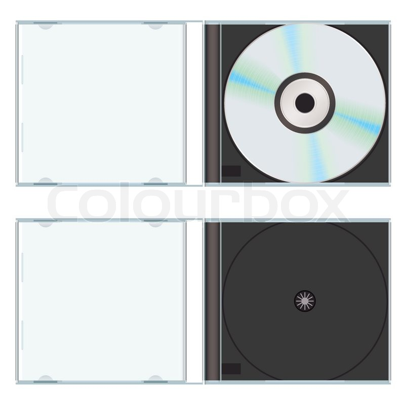 Music or computer cd with plastic case Stock Vector Colourbox