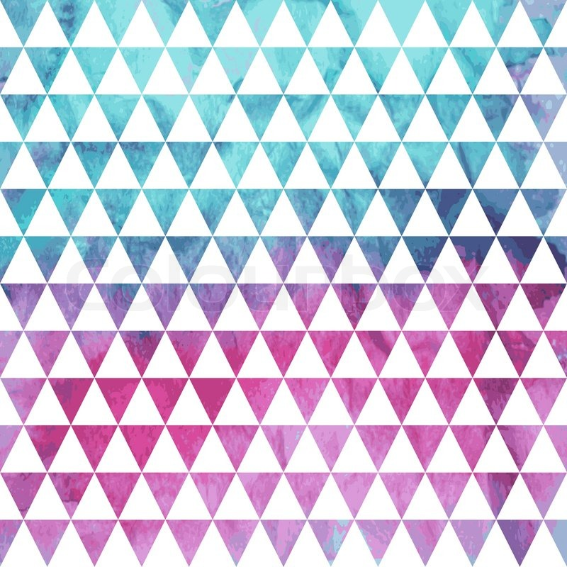 Vector Seamless Geometric Pattern on watercolor winter background