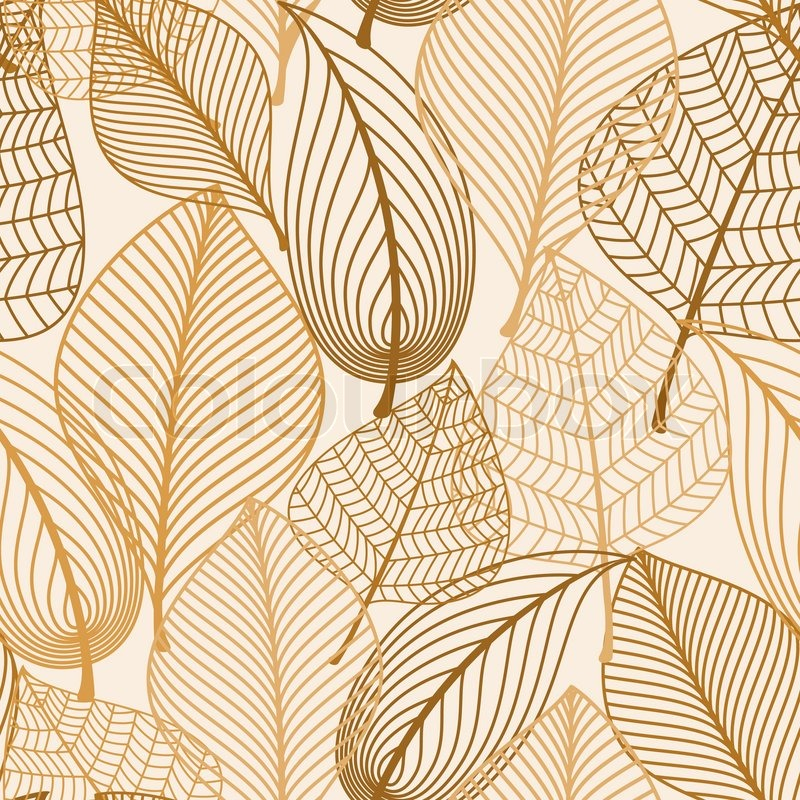 Fall Abstract Wallpaper Atumnal Seamless Pattern With Brown Leaves In Silhouette