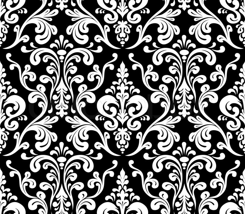 Vector Seamless elegant damask pattern Black and white Stock