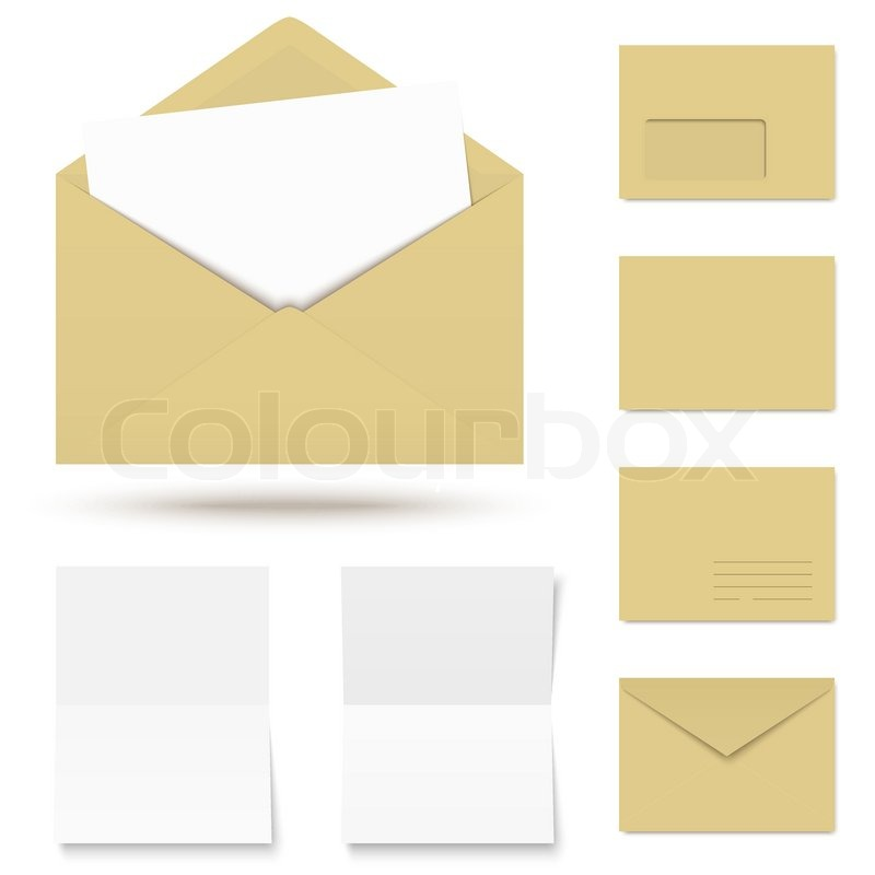 Vector - collection of colored envelopes with writing paper Stock - colored writing paper