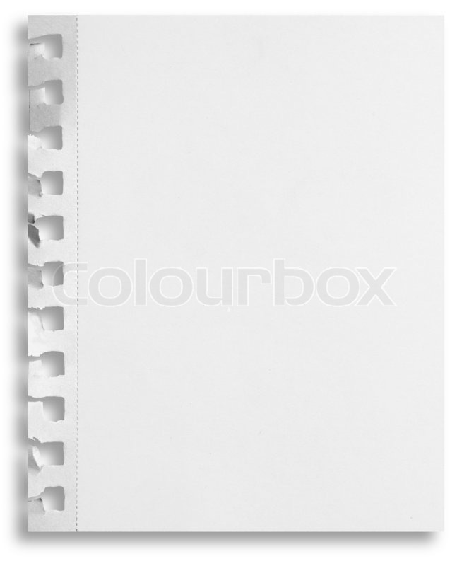 Blank white paper sheet with torn holes Stock Photo Colourbox