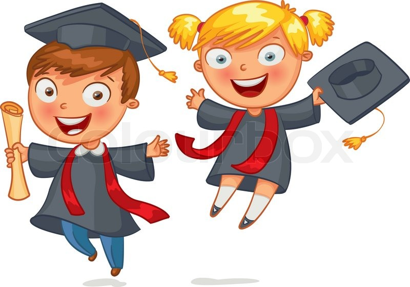 Cute Twin Baby Boy And Girl Wallpapers Graduate Funny Cartoon Character Stock Vector