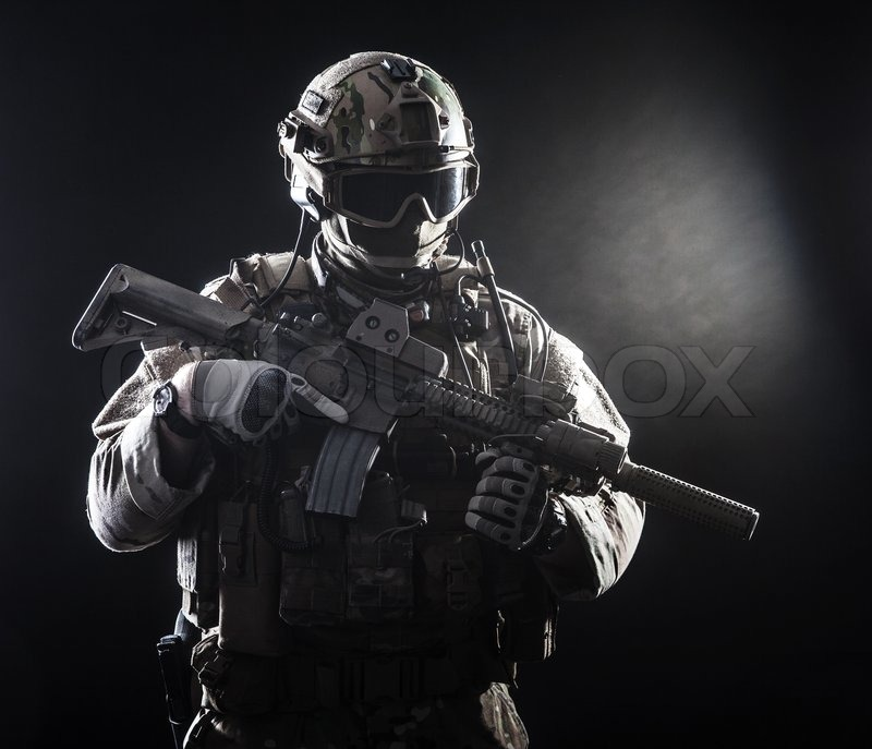 Ghost Recon Future Soldier Hd Wallpaper Special Forces Soldier With Rifle On Dark Background