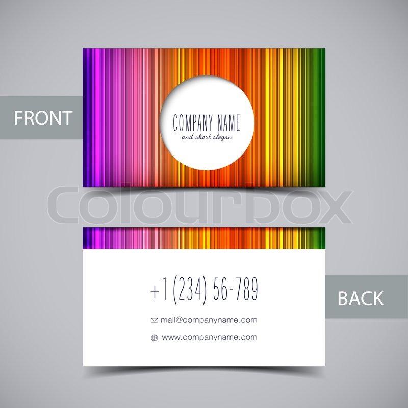 Vector abstract rainbow business card Stock Vector Colourbox