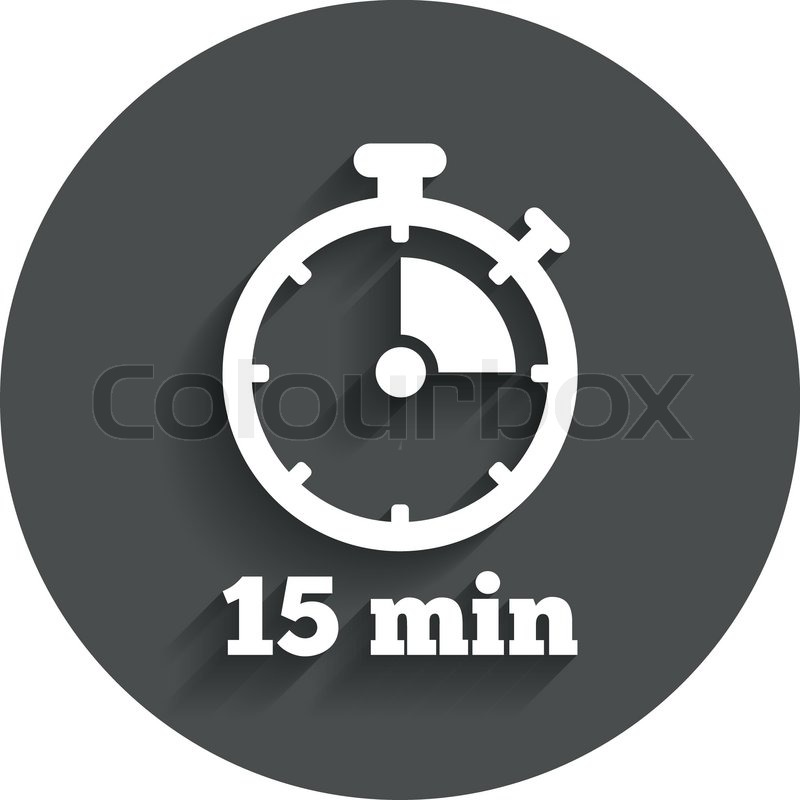 Timer sign icon 15 minutes stopwatch Stock Vector Colourbox