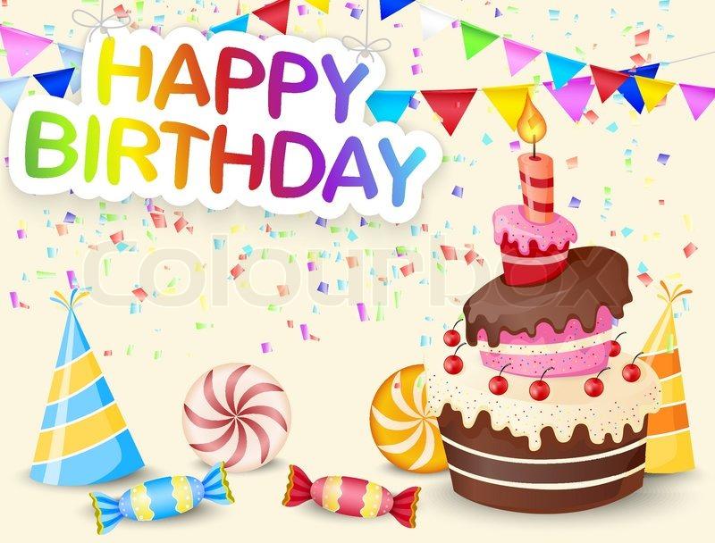 Vector illustration of Birthday background with birthday cake - birthday backround