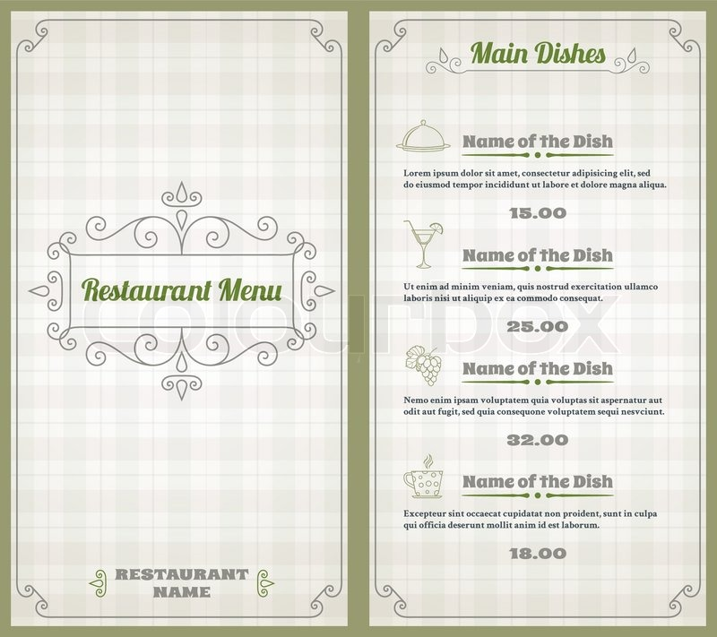 Elegant restaurant menu list with decorative elements on squared