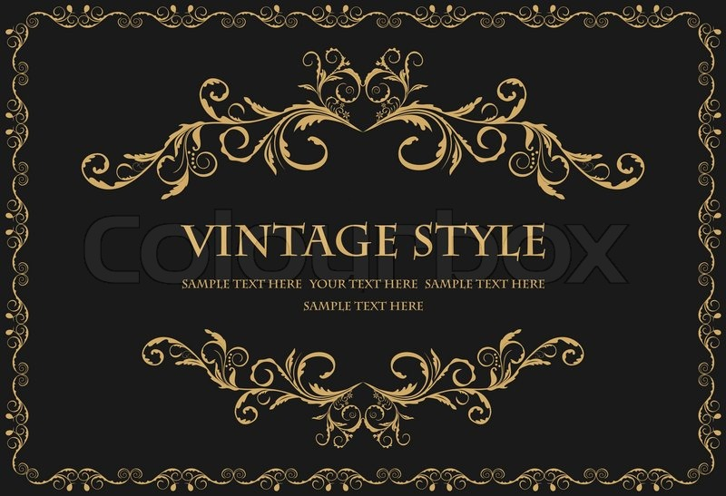 Illustration the luxury gold pattern ornament borders of black - black border background