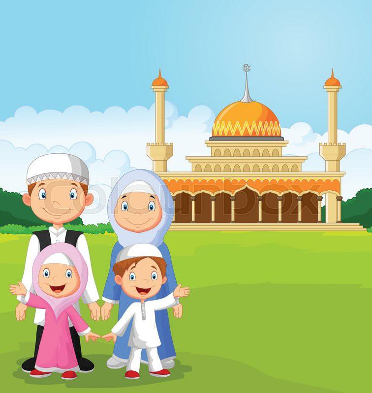 Wallpaper Cartoon Islamic Girl Vector Illustration Of Cartoon Happy Muslim Family Stock
