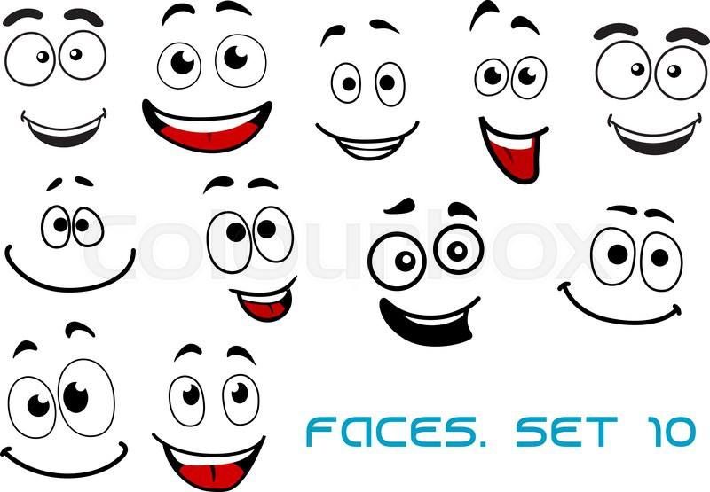 Happy and joyful emotions on cartoon Stock Vector Colourbox