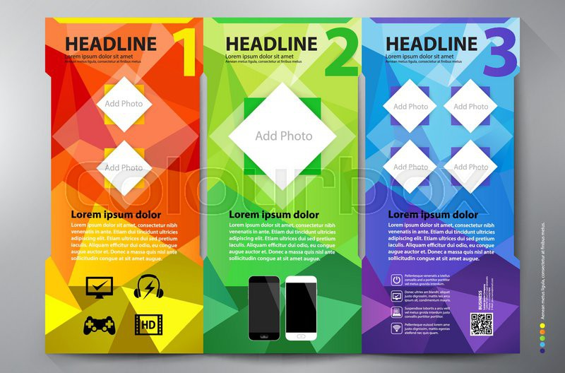 Polygon brochure leaflet design tri-fold template Vector - leaflet template