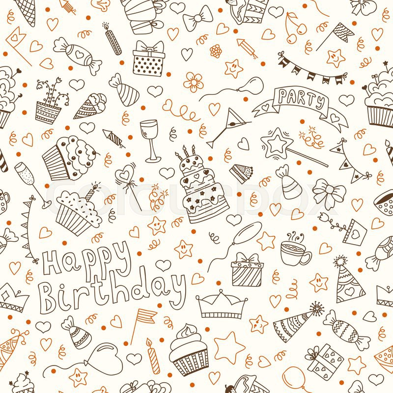 Cute Cupcake Wallpaper Hand Drawn Seamless Pattern With Birthday Elements Vector