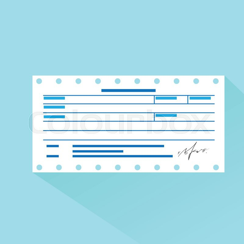 Financial bill document, invoice order payment check flat design - check invoice
