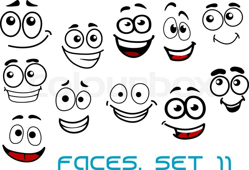 Cartoon emotional funny faces characters with cheerful, joyful and