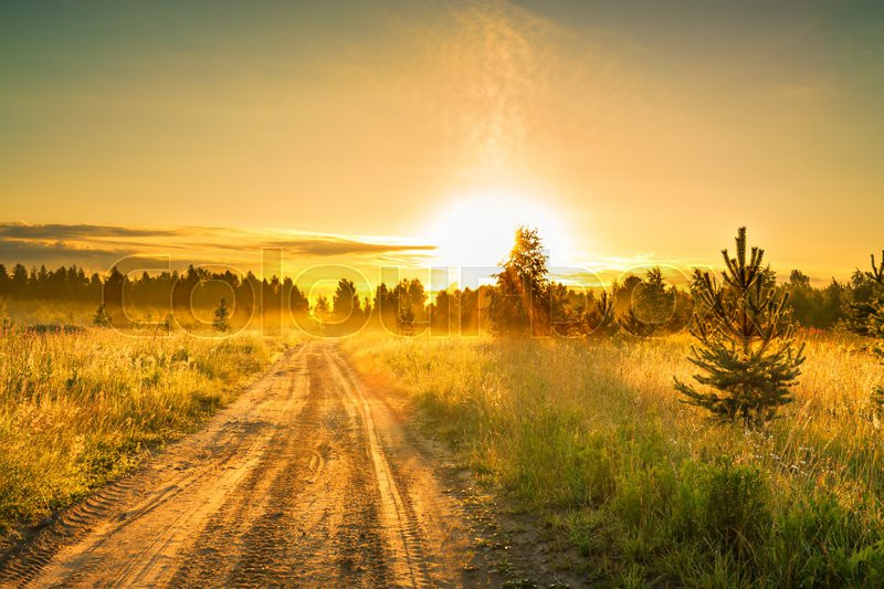 Rustic Fall Desktop Wallpaper The Summer Rural Landscape With Sunrise And The Road