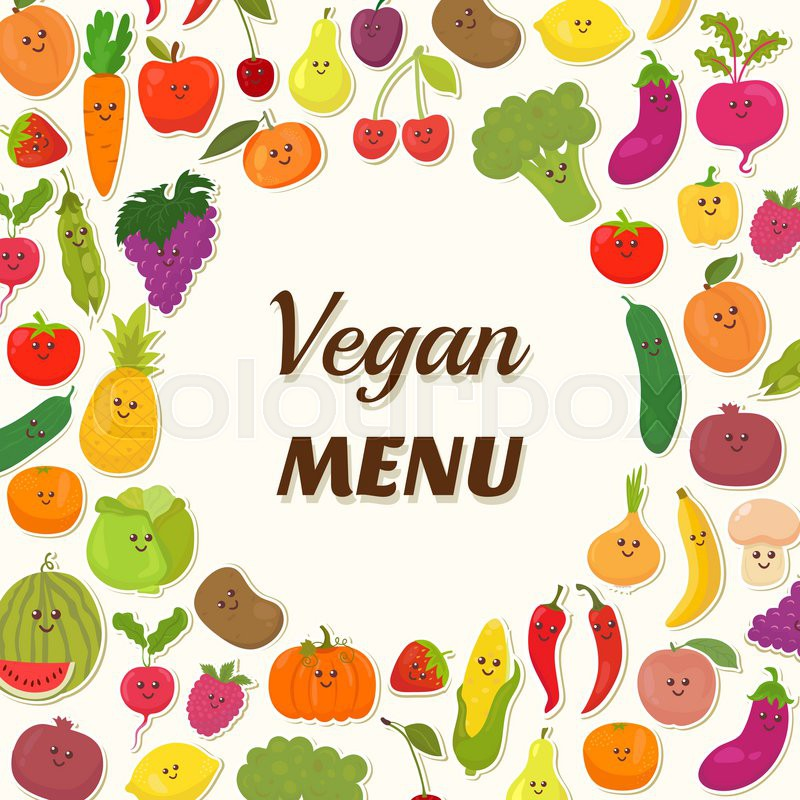Vegan menu background Vegetarian Card Design Cute fruits and