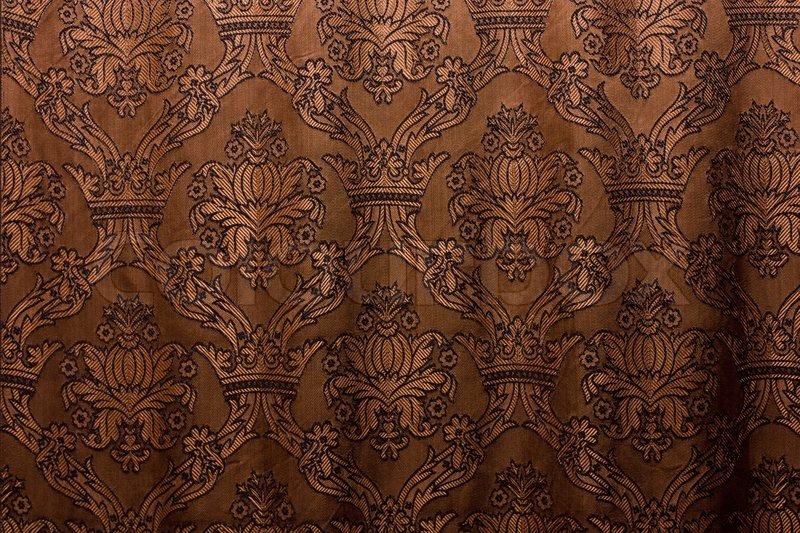 Black Velvet Damask Wallpaper Brown Vintage Curtain As Background Stock Photo Colourbox