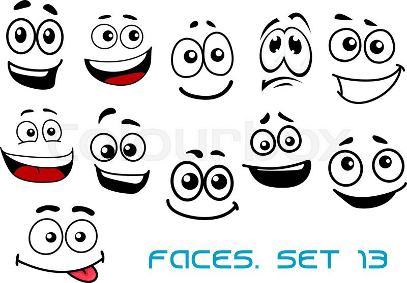 Cute cartoon emotional faces with Stock Vector Colourbox