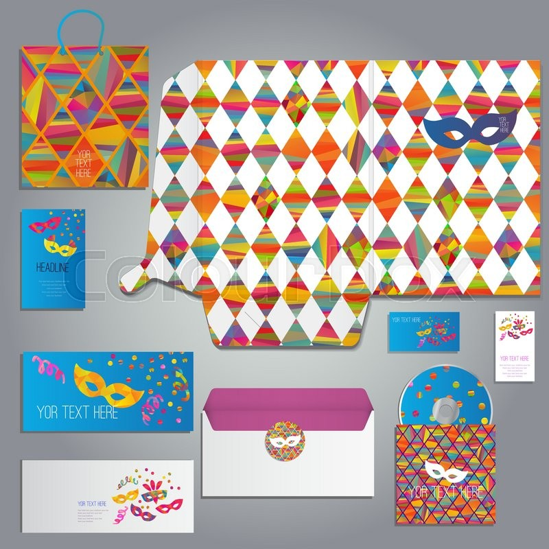 Masquerade cards and invitation set with with carnival masks