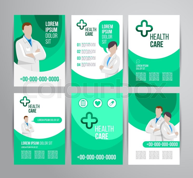Vector health care brochure for clinic with doctors Medical flyer