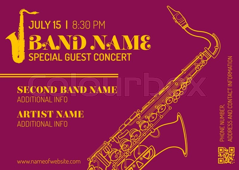 Vector purple orange gold jazz music concert sax music flyer