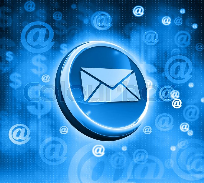 3d mail icon on abstract blue background Stock Photo Colourbox