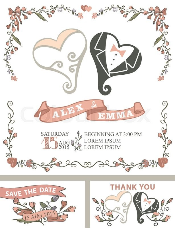Wedding invitation template set with floral decor,coople hearts
