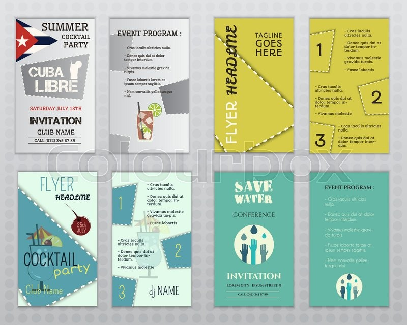 Set of flyer layout templates Stock Vector Colourbox