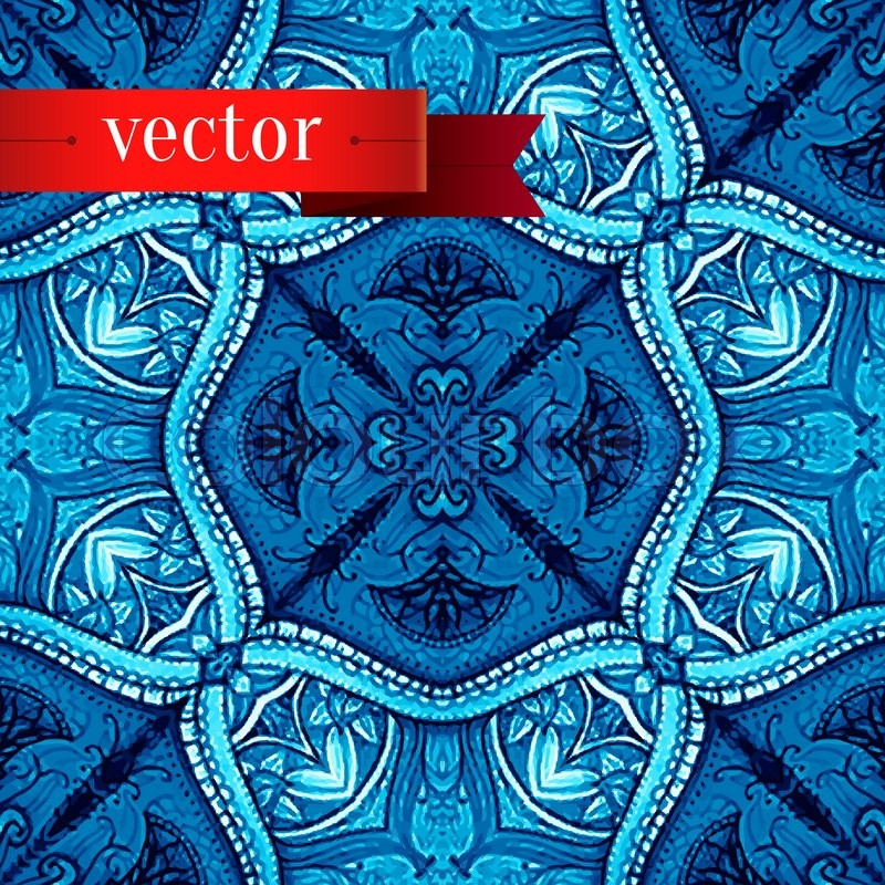 Abstract artistic background Vector art in ottoman style Blue