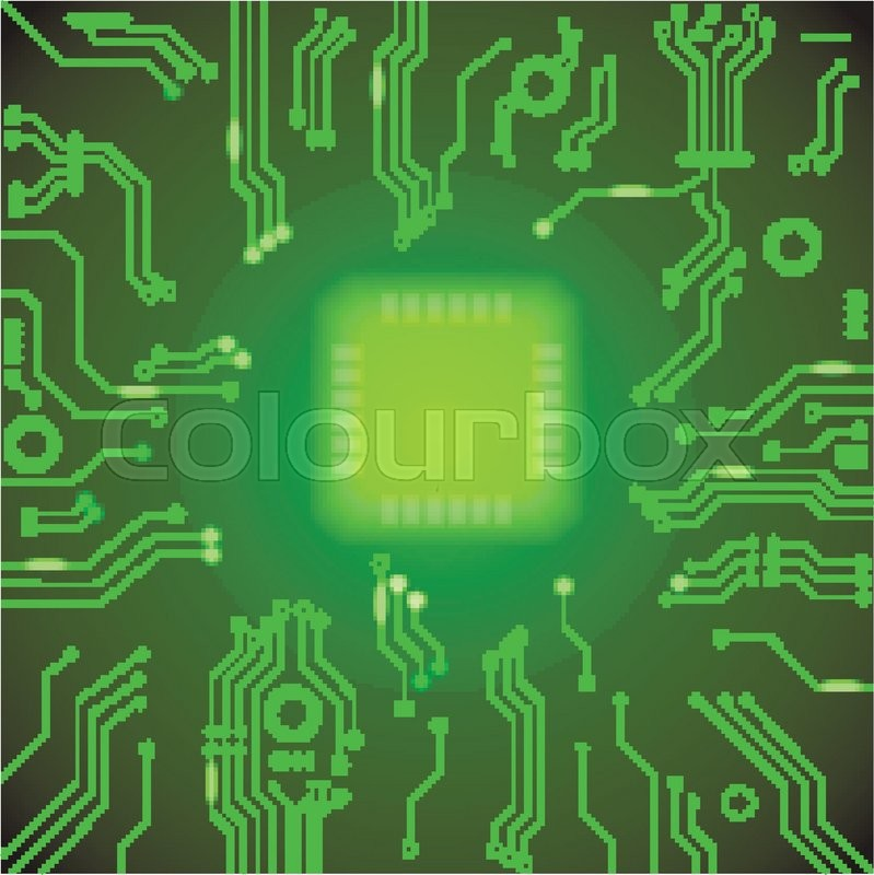 Circuit board green vector background motherboard Processor and - circuit design background