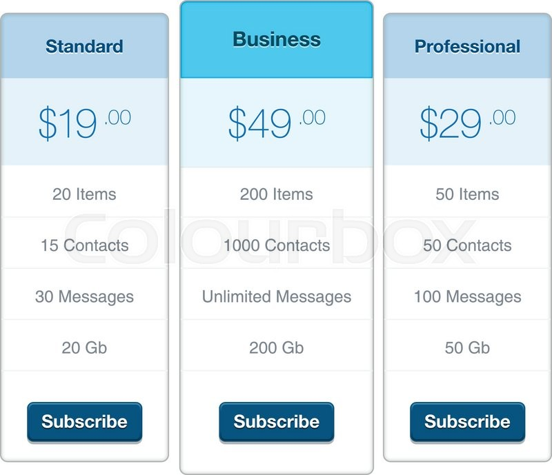 Modern user interface screen price list template for mobile smart - price list design template