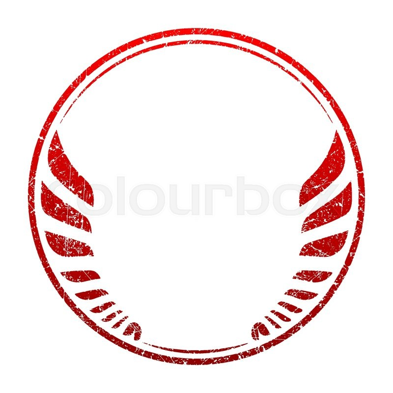 Red grunge rubber stamp template with wings and an empty space for - stamp template
