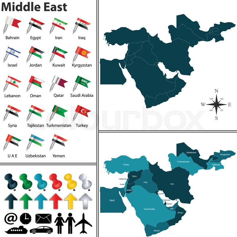 Vector of political map of Middle East Stock Vector Colourbox