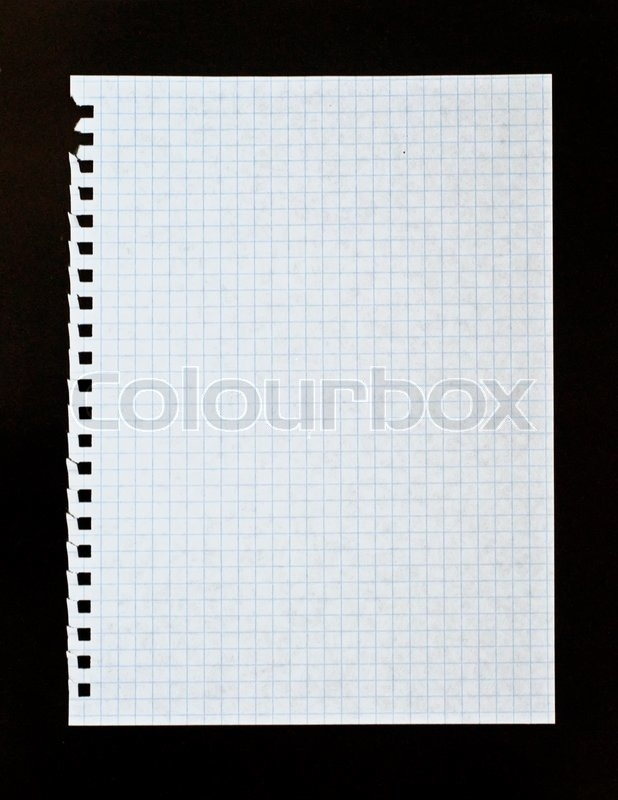 Sheet of white lined paper on the black background Stock Photo - lined paper background for word
