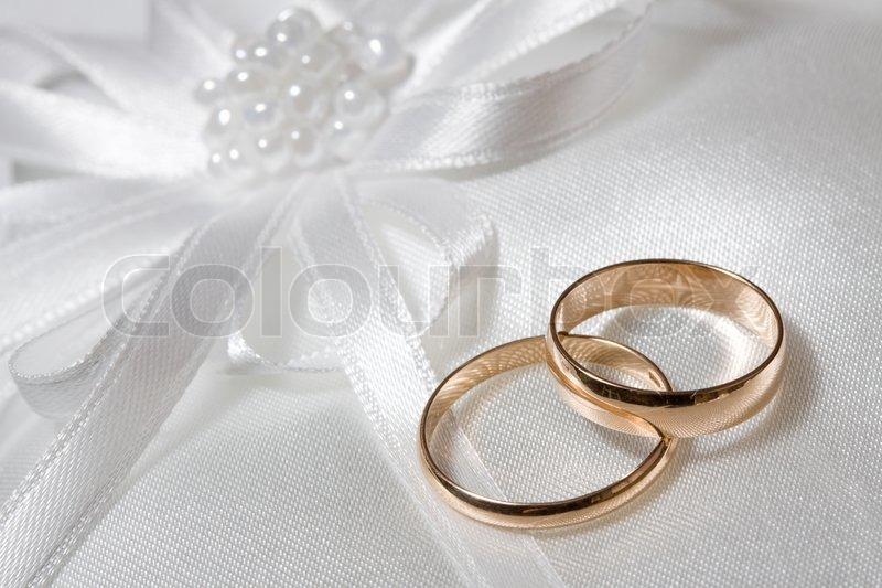 Cute Marriage Couple Wallpaper Two Wedding Rings With White Flower In Stock Photo