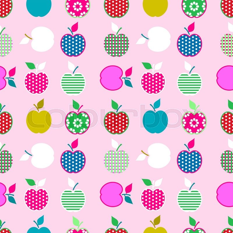 Baby and kids pattern with apples, vector cute background, geometric
