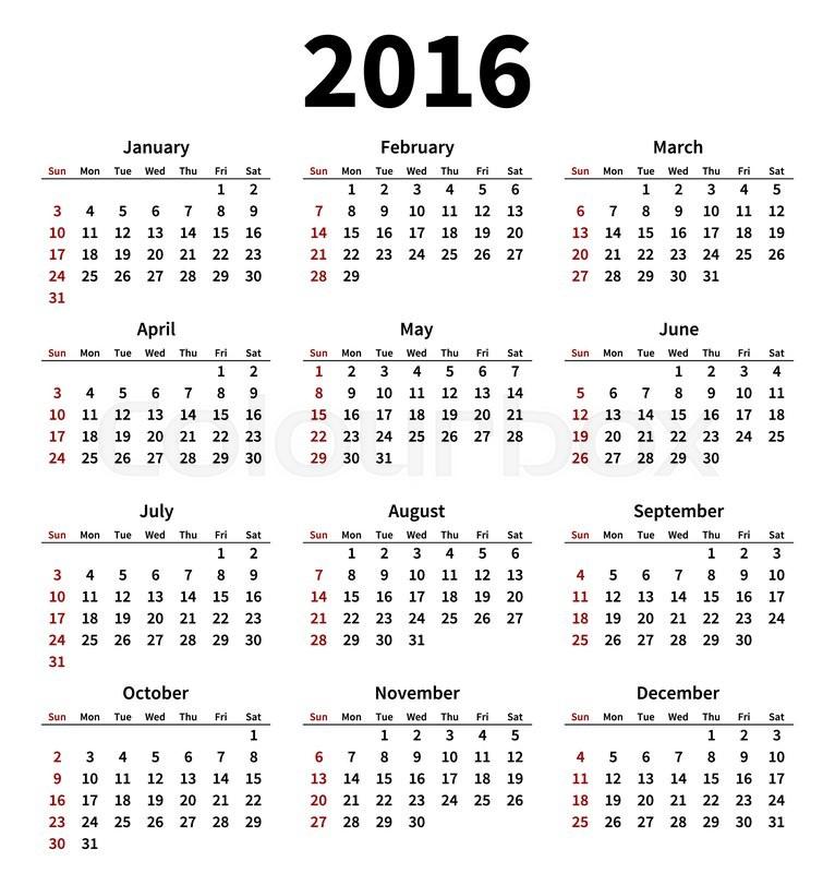 Simple 2016 year calendar on white Stock Vector Colourbox