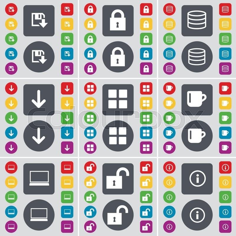 Floppy, Lock, Database, Arrow down, Apps, Cup, Laptop, Lock - apps symbol