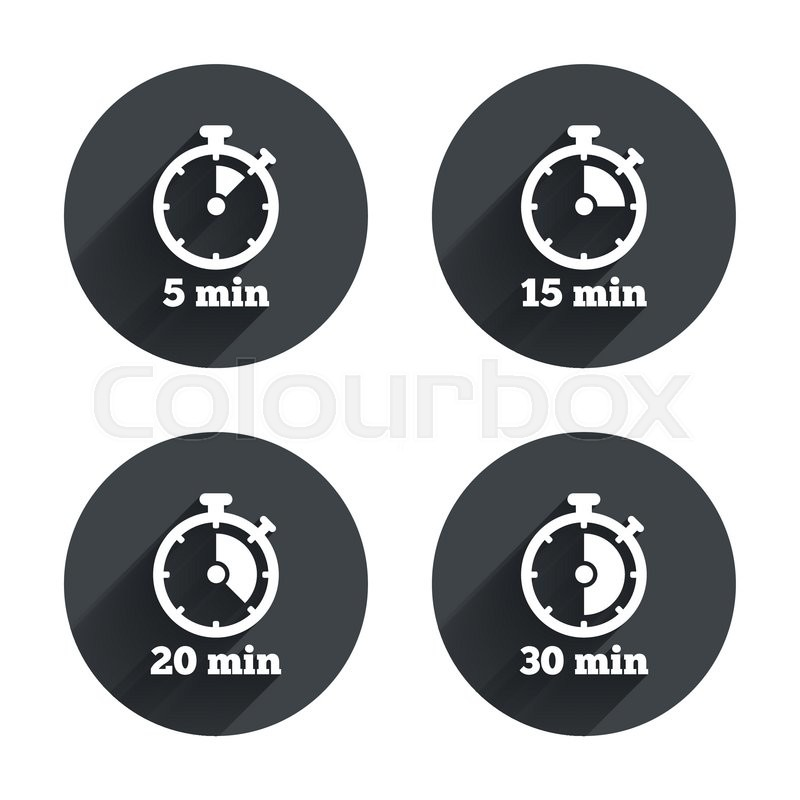 Timer icons 5, 15, 20 and 30 minutes stopwatch symbols Circles