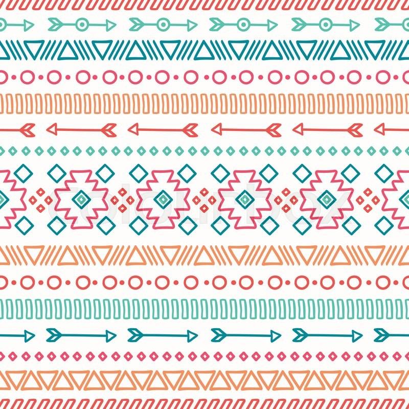 Cute Tribal Print Wallpaper Hand Drawn Geometric Ethnic Seamless Stock Vector
