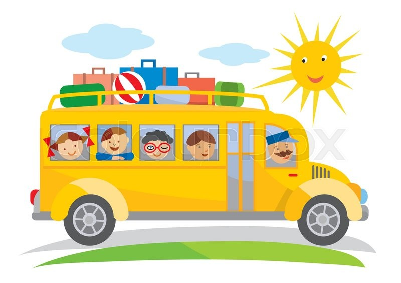 Cartoon Of Yellow School Bus Traveling On A School Trip