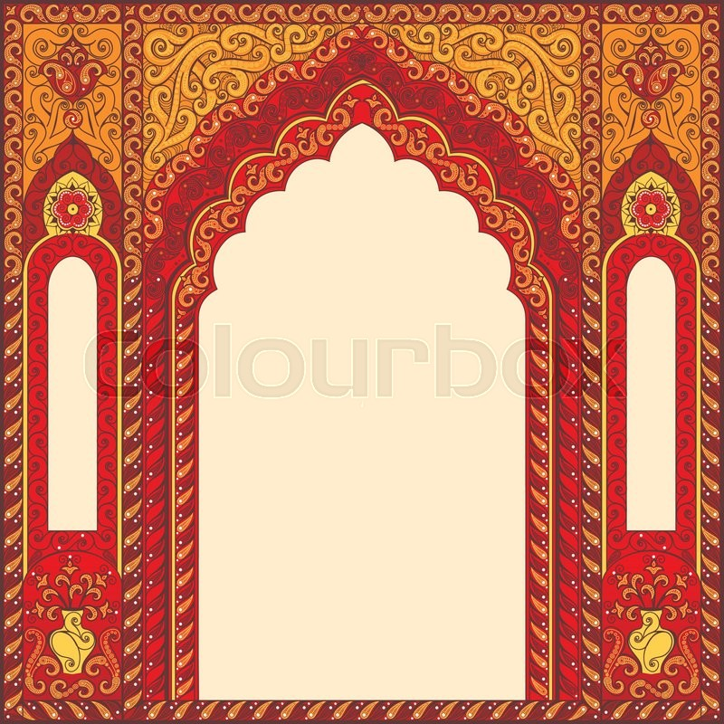 Eastern red frames, arch Template Stock Vector Colourbox