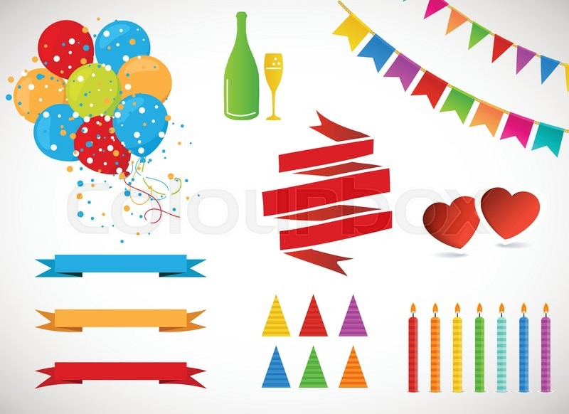 Vector Holiday Set Colorful Garlands, Flags, banners, air Balloons