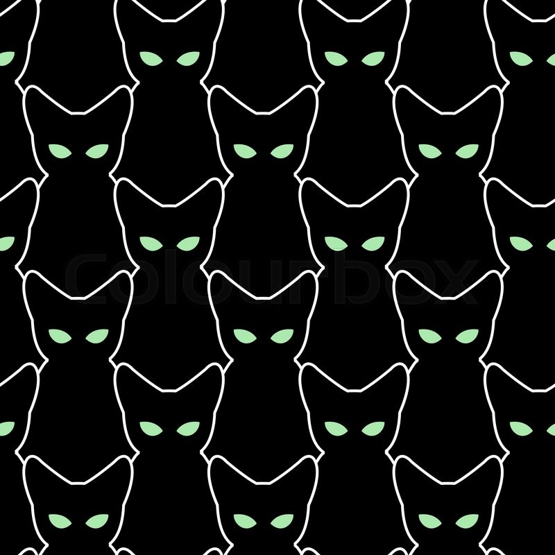 Cute Kitties Hd Wallpapers Black Cat Seamless Pattern Vector Backgrounds For
