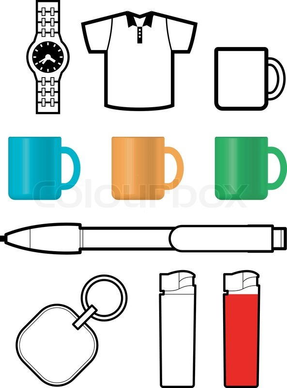 Promotional gift templates of watch, shirt, cup, pen, lighter