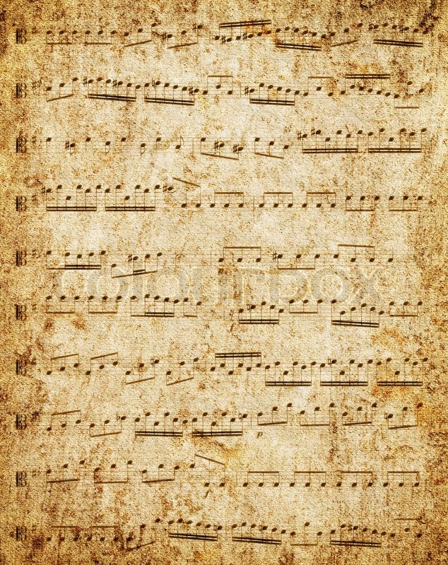 Music-paper with notes background Stock Photo Colourbox